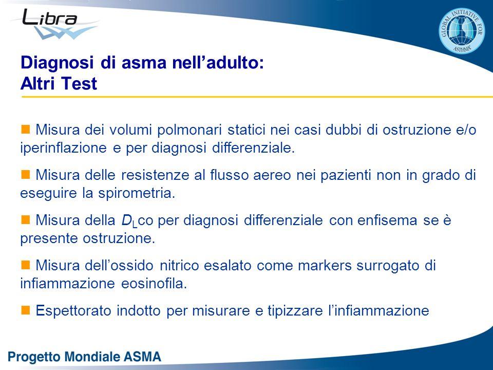 Diagnosi di asma nell'adulto: Altri Test Misura dei volumi polmonari statici nei casi dubbi di ostruzione e/o iperinflazione e per diagnosi differenziale.