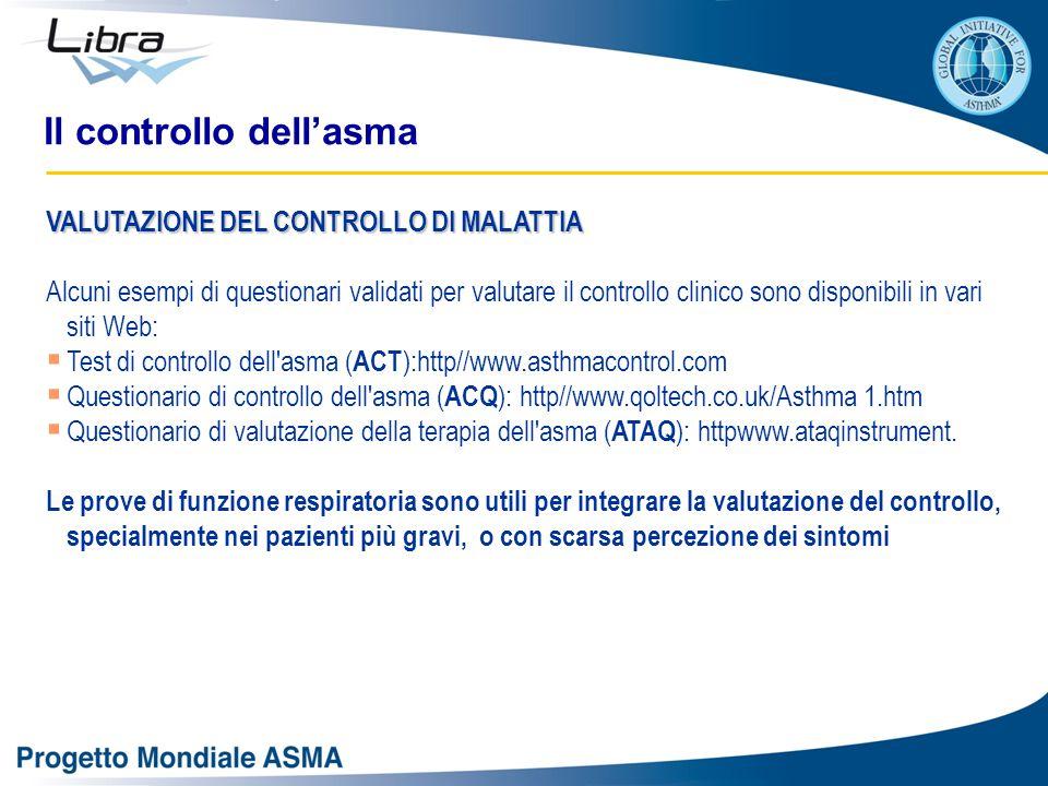VALUTAZIONE DEL CONTROLLO DI MALATTIA Alcuni esempi di questionari validati per valutare il controllo clinico sono disponibili in vari siti Web:  Test di controllo dell asma ( ACT ):http//www.asthmacontrol.com  Questionario di controllo dell asma ( ACQ ): http//www.qoltech.co.uk/Asthma 1.htm  Questionario di valutazione della terapia dell asma ( ATAQ ): httpwww.ataqinstrument.