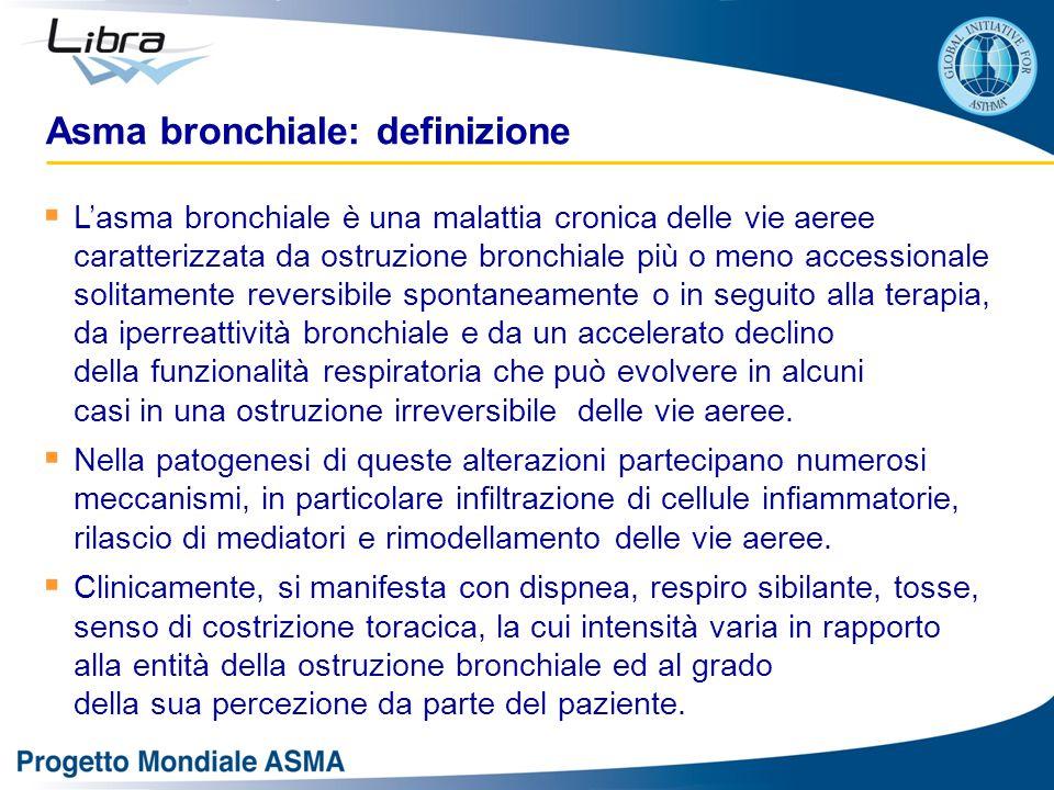 L'asma è una malattia infiammatoria cronica delle vie aeree caratterizzata da:  Episodi ricorrenti di dispnea, respiro sibilante, tosse e senso di costrizione toracica  Ostruzione bronchiale (di solito reversibile spontaneamente o dopo trattamento farmacologico)  Iperreattività bronchiale  Infiltrazione di cellule infiammatorie, rilascio di mediatori e rimodellamento strutturale delle vie aeree Asma bronchiale: definizione