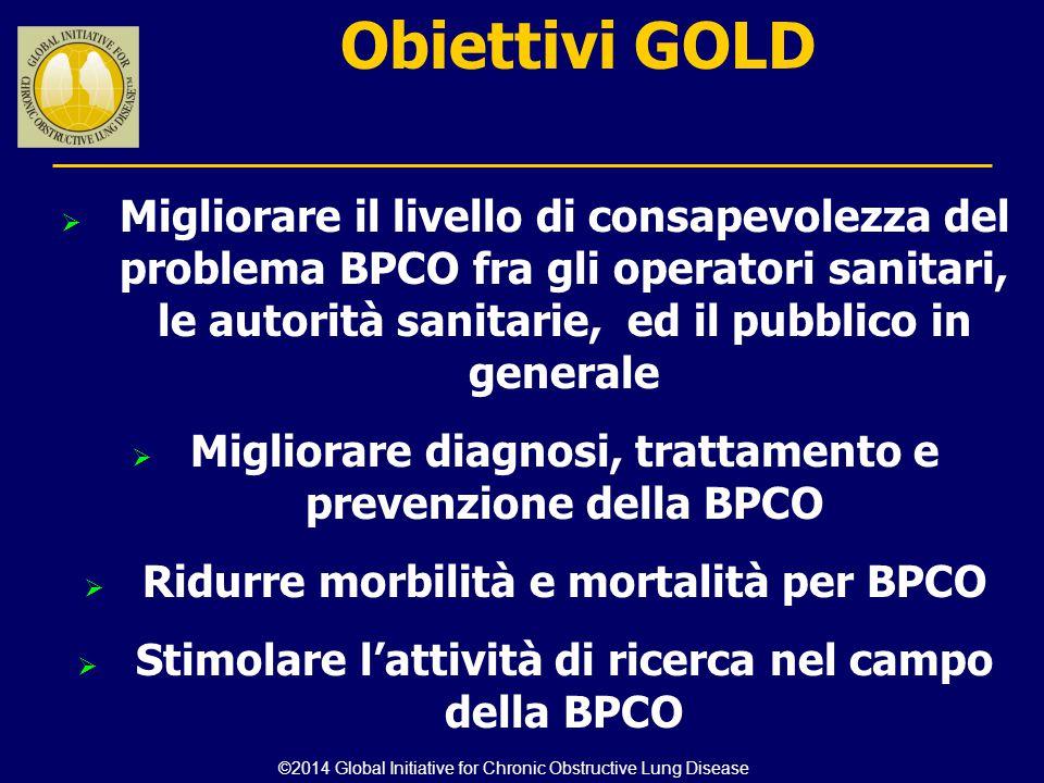 Obiettivi GOLD  Migliorare il livello di consapevolezza del problema BPCO fra gli operatori sanitari, le autorità sanitarie, ed il pubblico in genera
