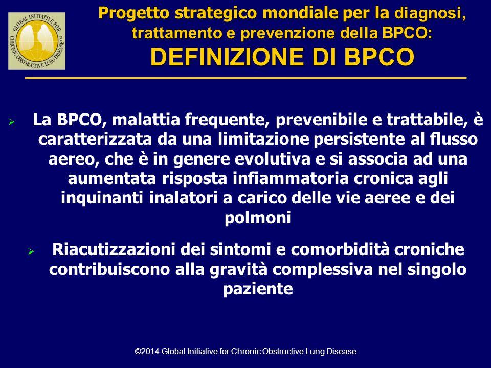  La BPCO, malattia frequente, prevenibile e trattabile, è caratterizzata da una limitazione persistente al flusso aereo, che è in genere evolutiva e
