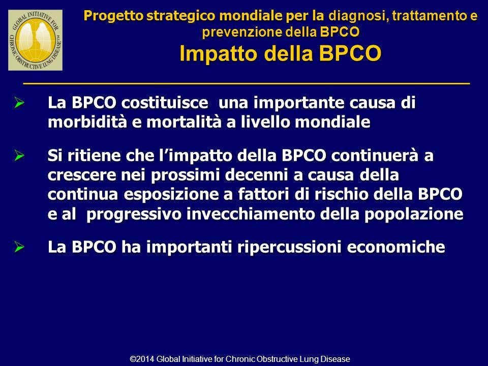  La BPCO costituisce una importante causa di morbidità e mortalità a livello mondiale  Si ritiene che l'impatto della BPCO continuerà a crescere nei