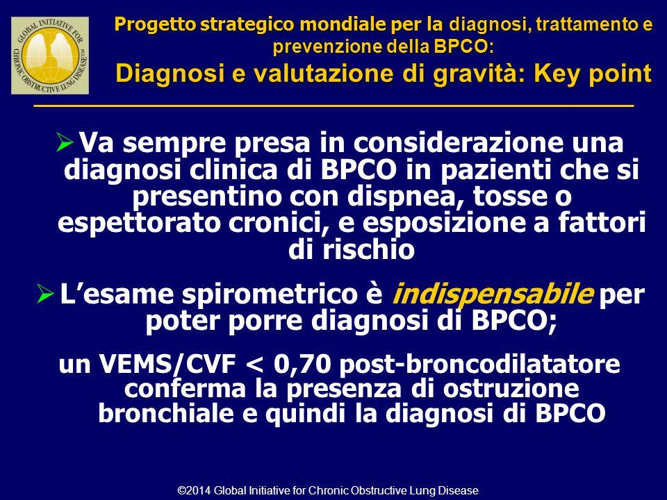  Va sempre presa in considerazione una diagnosi clinica di BPCO in pazienti che si presentino con dispnea, tosse o espettorato cronici, e esposizione