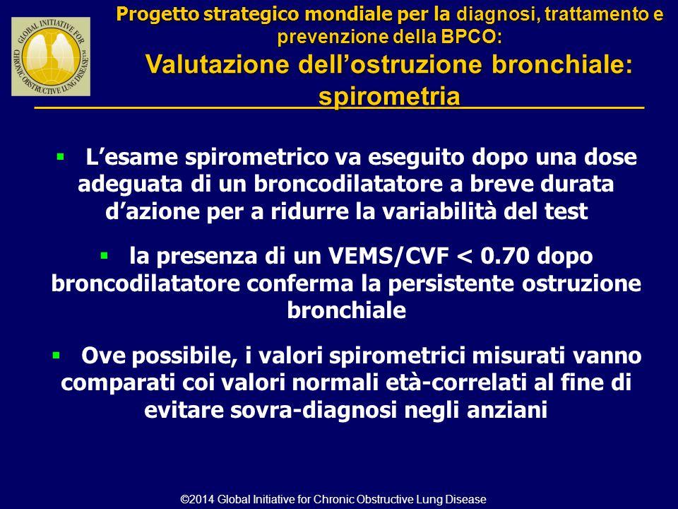  L'esame spirometrico va eseguito dopo una dose adeguata di un broncodilatatore a breve durata d'azione per a ridurre la variabilità del test  la pr
