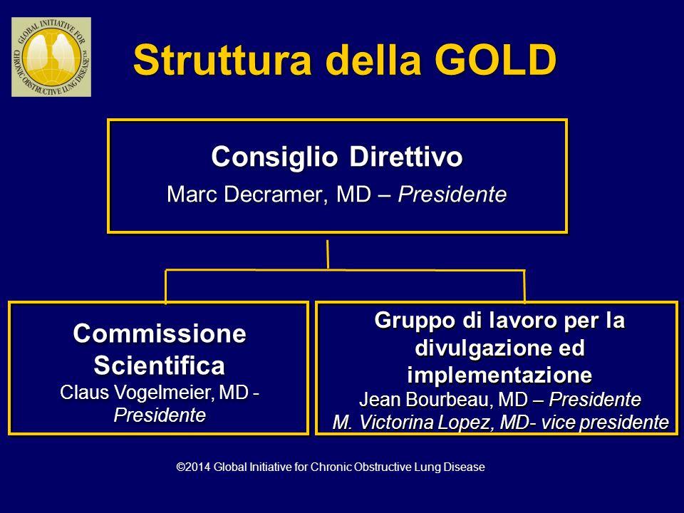 In pazienti con VEMS/CVF < 0.70: GOLD 1: Lieve VEMS > 80% del teorico GOLD 2: Moderata 50% < VEMS < 80% del teorico GOLD 3: Grave 30% < VEMS < 50% del teorico GOLD 4: Molto Grave VEMS < 30% del teorico *basata sul valore di VEMS misurato dopo broncodilatore Progetto strategico mondiale per la diagnosi, trattamento e prevenzione della BPCO: Classificazione di gravità spirometrica della BPCO* Progetto strategico mondiale per la diagnosi, trattamento e prevenzione della BPCO: Classificazione di gravità spirometrica della BPCO* ©2014 Global Initiative for Chronic Obstructive Lung Disease