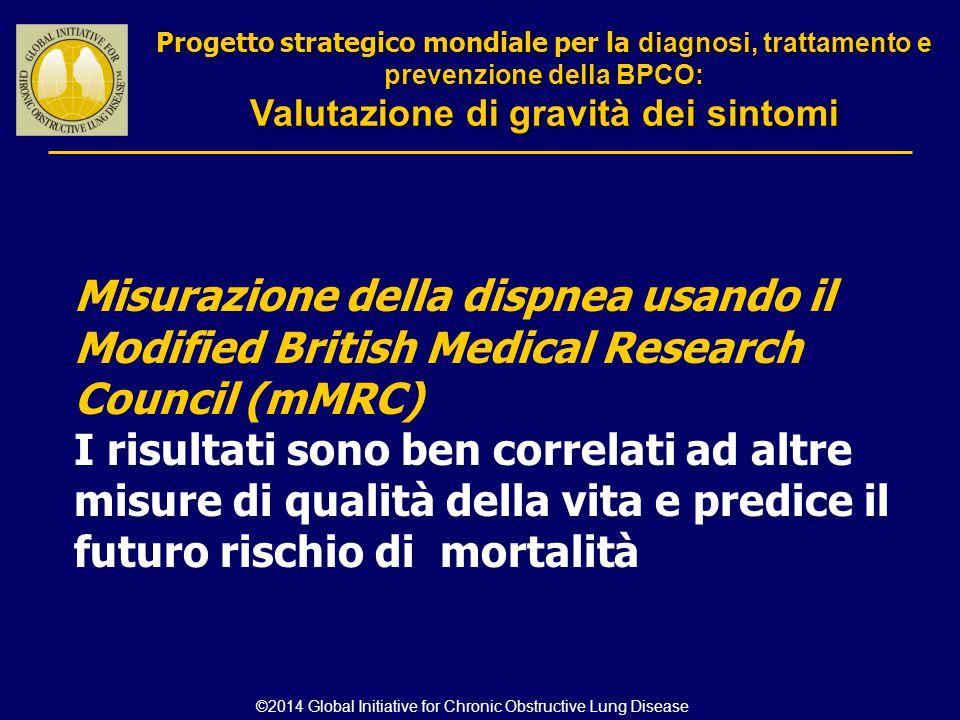 Progetto strategico mondiale per la diagnosi, trattamento e prevenzione della BPCO: Valutazione di gravità dei sintomi Progetto strategico mondiale pe