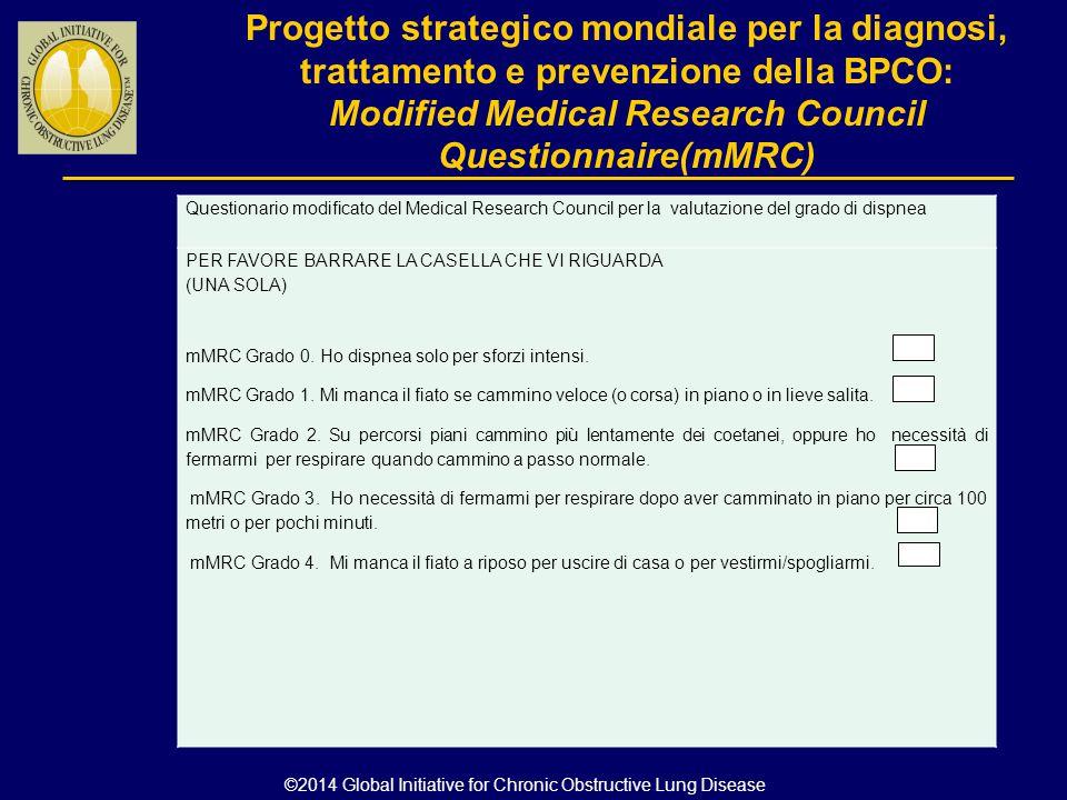 Progetto strategico mondiale per la diagnosi, trattamento e prevenzione della BPCO: Modified Medical Research Council Questionnaire(mMRC) ©2014 Global