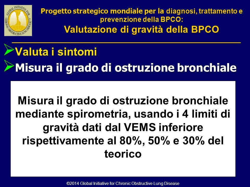  Valuta i sintomi  Misura il grado di ostruzione bronchiale Misura il grado di ostruzione bronchiale mediante spirometria, usando i 4 limiti di grav