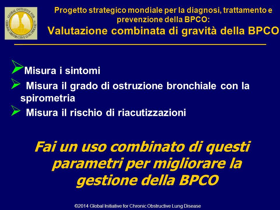 Progetto strategico mondiale per la diagnosi, trattamento e prevenzione della BPCO: Valutazione combinata di gravità della BPCO  Misura i sintomi  M