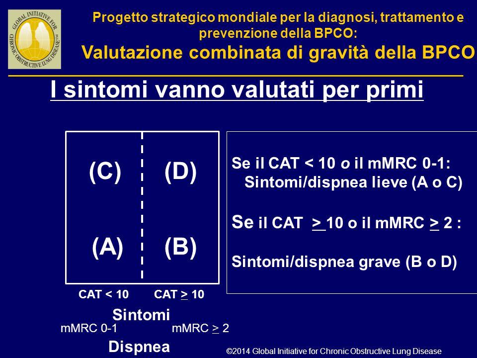 (C)(D) (A)(B) CAT < 10 CAT > 10 Sintomi Se il CAT < 10 o il mMRC 0-1: Sintomi/dispnea lieve (A o C) Se il CAT > 10 o il mMRC > 2 : Sintomi/dispnea gra