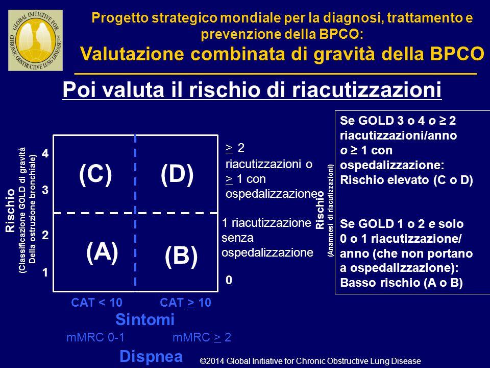 0 (C)(D) (A) (B) CAT < 10 4 3 2 1 CAT > 10 Sintomi Se GOLD 3 o 4 o ≥ 2 riacutizzazioni/anno o ≥ 1 con ospedalizzazione: Rischio elevato (C o D) Se GOL