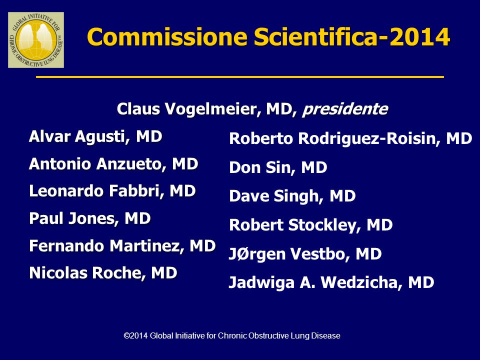 Commissione Scientifica-2014 Claus Vogelmeier, MD, presidente Alvar Agusti, MD Antonio Anzueto, MD Leonardo Fabbri, MD Paul Jones, MD Fernando Martine