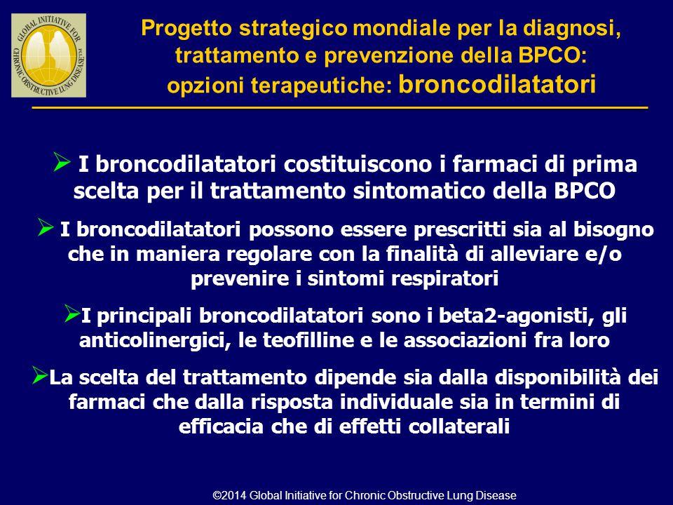  I broncodilatatori costituiscono i farmaci di prima scelta per il trattamento sintomatico della BPCO  I broncodilatatori possono essere prescritti