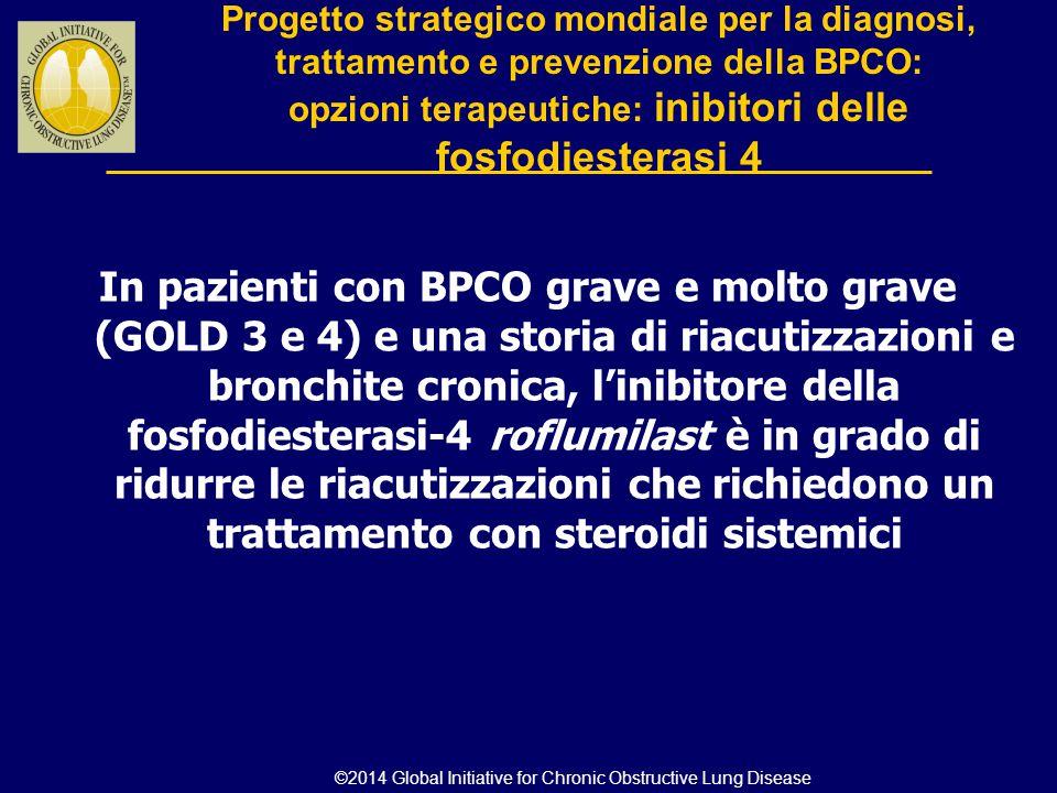 In pazienti con BPCO grave e molto grave (GOLD 3 e 4) e una storia di riacutizzazioni e bronchite cronica, l'inibitore della fosfodiesterasi-4 roflumi