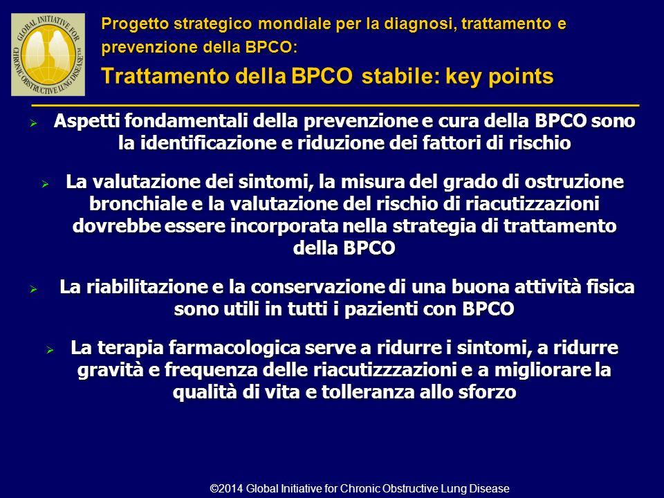  Aspetti fondamentali della prevenzione e cura della BPCO sono la identificazione e riduzione dei fattori di rischio  La valutazione dei sintomi, la