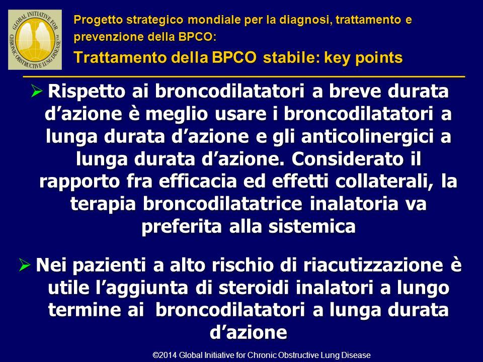  Rispetto ai broncodilatatori a breve durata d'azione è meglio usare i broncodilatatori a lunga durata d'azione e gli anticolinergici a lunga durata