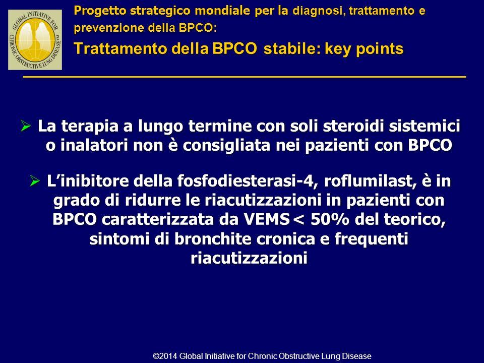  La terapia a lungo termine con soli steroidi sistemici o inalatori non è consigliata nei pazienti con BPCO  L'inibitore della fosfodiesterasi-4, ro