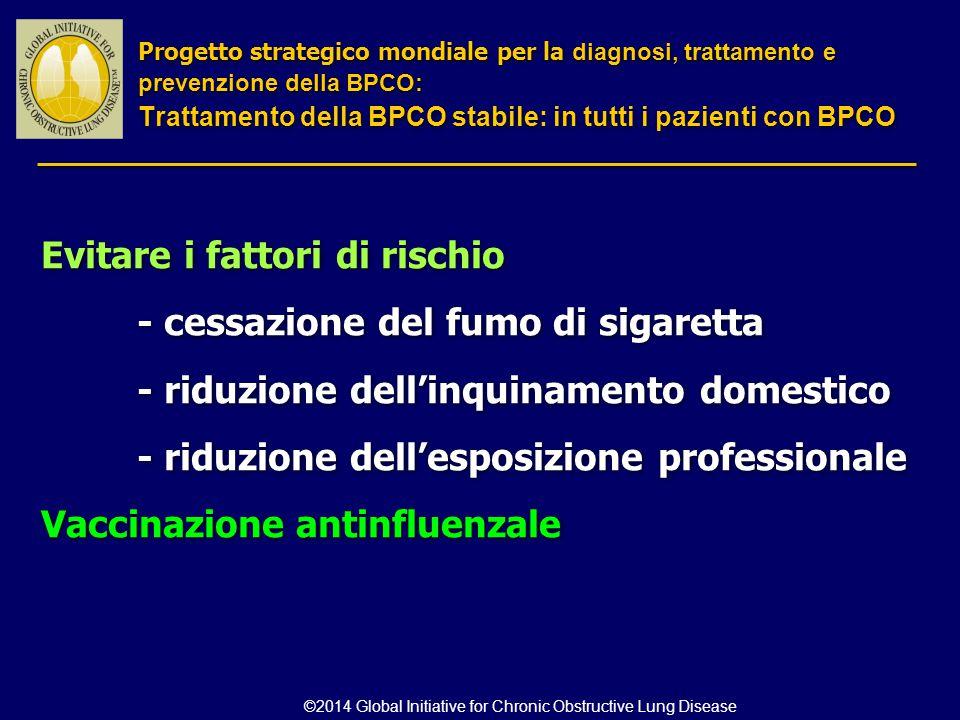 Evitare i fattori di rischio - cessazione del fumo di sigaretta - riduzione dell'inquinamento domestico - riduzione dell'esposizione professionale Vac