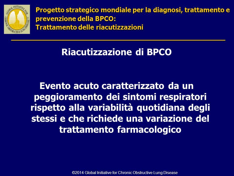 Riacutizzazione di BPCO Evento acuto caratterizzato da un peggioramento dei sintomi respiratori rispetto alla variabilità quotidiana degli stessi e ch