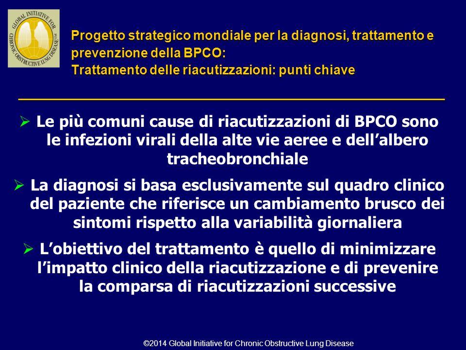  Le più comuni cause di riacutizzazioni di BPCO sono le infezioni virali della alte vie aeree e dell'albero tracheobronchiale  La diagnosi si basa e