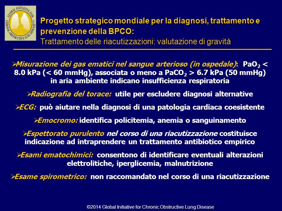  Misurazione dei gas ematici nel sangue arterioso (in ospedale): PaO 2 6.7 kPa (50 mmHg) in aria ambiente indicano insufficienza respiratoria  Radio
