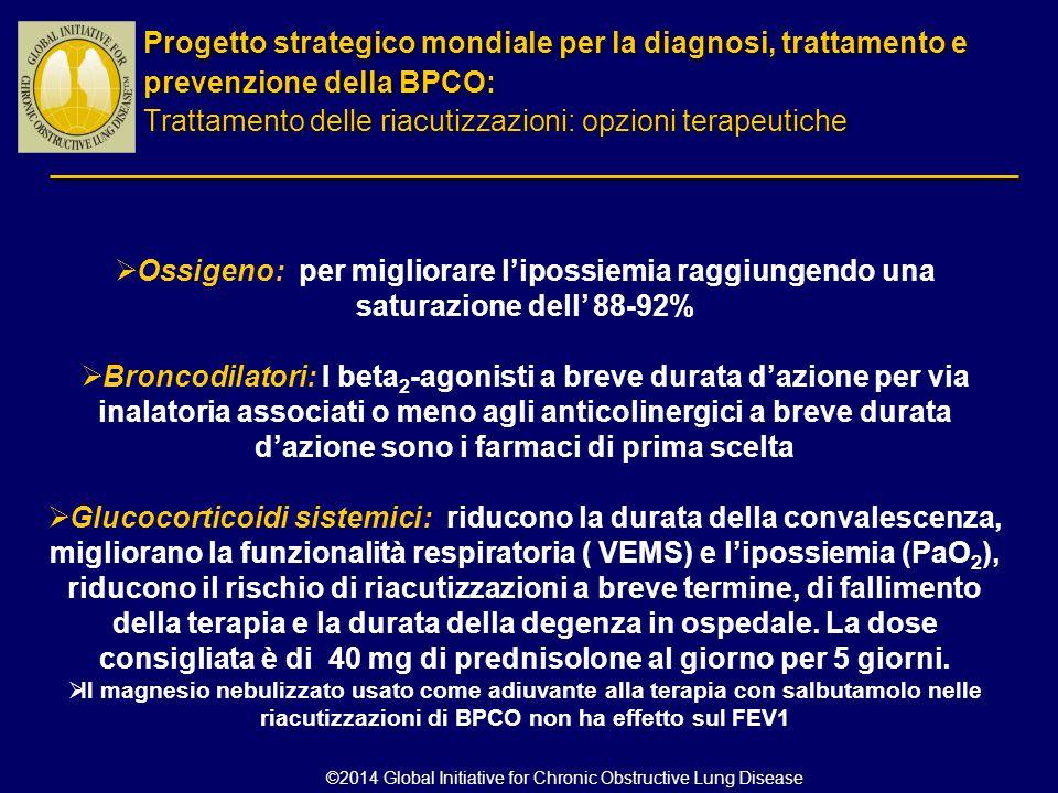  Ossigeno: per migliorare l'ipossiemia raggiungendo una saturazione dell' 88-92%  Broncodilatori: I beta 2 -agonisti a breve durata d'azione per via