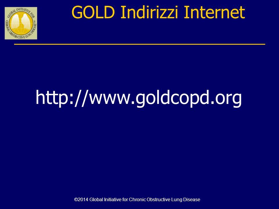 0 (C)(D) (A) (B) CAT < 10 4 3 2 1 CAT > 10 Sintomi Se GOLD 3 o 4 o ≥ 2 riacutizzazioni/anno o ≥ 1 con ospedalizzazione: Rischio elevato (C o D) Se GOLD 1 o 2 e solo 0 o 1 riacutizzazione/ anno (che non portano a ospedalizzazione): Basso rischio (A o B) Poi valuta il rischio di riacutizzazioni Progetto strategico mondiale per la diagnosi, trattamento e prevenzione della BPCO: Valutazione combinata di gravità della BPCO Rischio (Classificazione GOLD di gravità Della ostruzione bronchiale) Rischio (Anamnesi di riacutizzazioni) > 2 riacutizzazioni o > 1 con ospedalizzazione 1 riacutizzazione senza ospedalizzazione mMRC 0-1mMRC > 2 Dispnea ©2014 Global Initiative for Chronic Obstructive Lung Disease