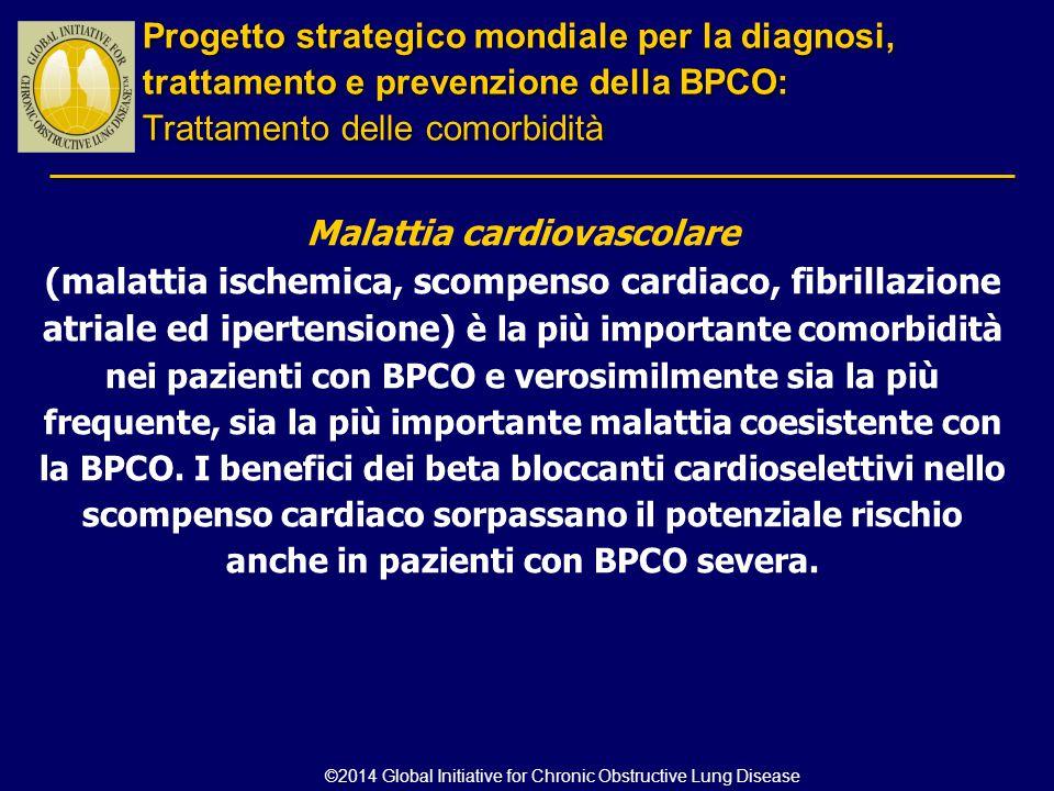 Malattia cardiovascolare (malattia ischemica, scompenso cardiaco, fibrillazione atriale ed ipertensione) è la più importante comorbidità nei pazienti