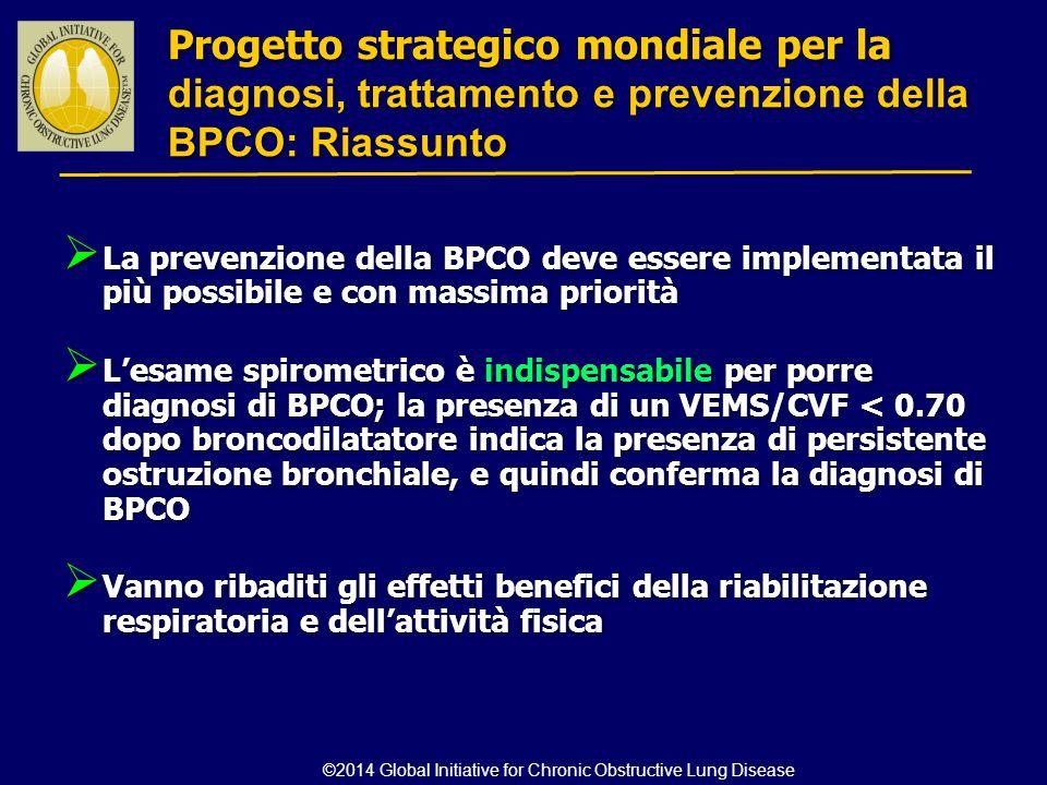  La prevenzione della BPCO deve essere implementata il più possibile e con massima priorità  L'esame spirometrico è indispensabile per porre diagnos