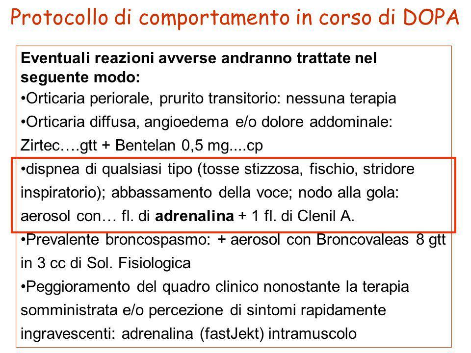 Eventuali reazioni avverse andranno trattate nel seguente modo: Orticaria periorale, prurito transitorio: nessuna terapia Orticaria diffusa, angioedem