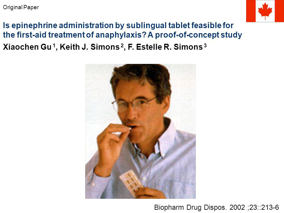 Original Paper Is epinephrine administration by sublingual tablet feasible for the first-aid treatment of anaphylaxis.