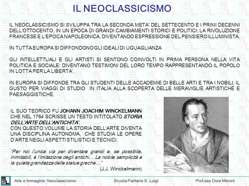 Arte e Immagine: NeoclassicismoScuola Paritaria S. LuigiProf.ssa Dora Meroni IL NEOCLASSICISMO IL NEOCLASSICISMO SI SVILUPPA TRA LA SECONDA META' DEL