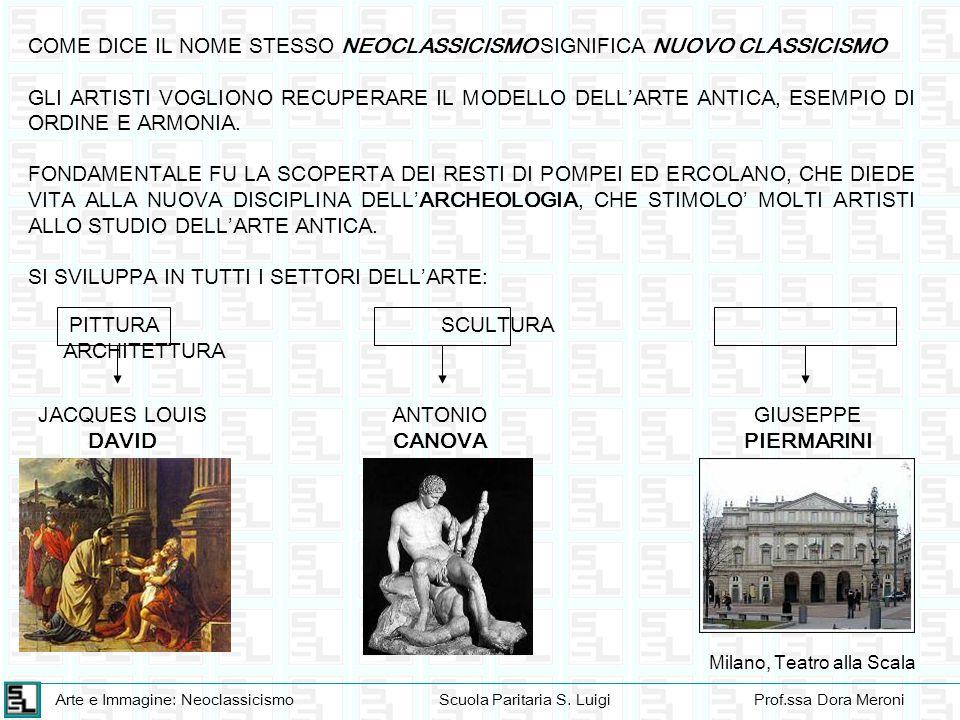 Arte e Immagine: NeoclassicismoScuola Paritaria S. LuigiProf.ssa Dora Meroni COME DICE IL NOME STESSO NEOCLASSICISMO SIGNIFICA NUOVO CLASSICISMO GLI A