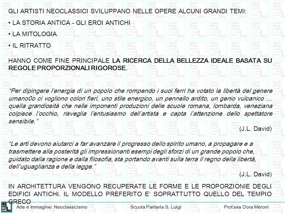 Arte e Immagine: NeoclassicismoScuola Paritaria S. LuigiProf.ssa Dora Meroni GLI ARTISTI NEOCLASSICI SVILUPPANO NELLE OPERE ALCUNI GRANDI TEMI: LA STO