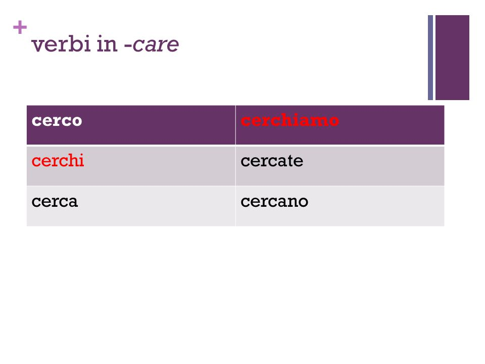 + verbi in -care cercocerchiamo cerchicercate cercacercano