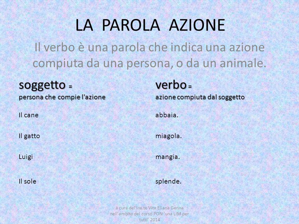 LA PAROLA AZIONE Il verbo è una parola che indica una azione compiuta da una persona, o da un animale. soggetto = persona che compie l'azione verbo =