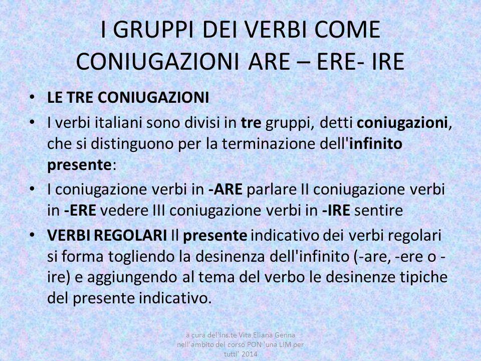 I GRUPPI DEI VERBI COME CONIUGAZIONI ARE – ERE- IRE LE TRE CONIUGAZIONI I verbi italiani sono divisi in tre gruppi, detti coniugazioni, che si disting