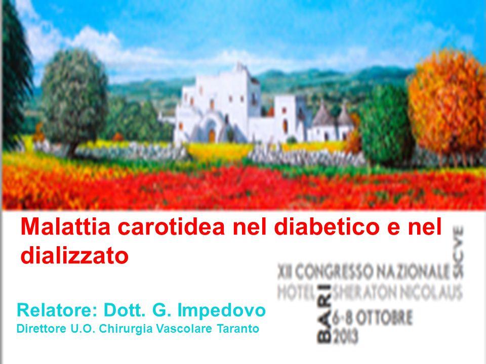 Malattia carotidea nel diabetico e nel dializzato Relatore: Dott. G. Impedovo Direttore U.O. Chirurgia Vascolare Taranto
