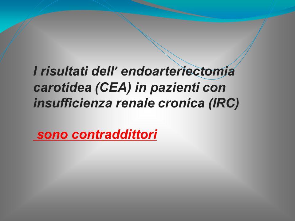 I risultati dell ' endoarteriectomia carotidea (CEA) in pazienti con insufficienza renale cronica (IRC) sono contraddittori
