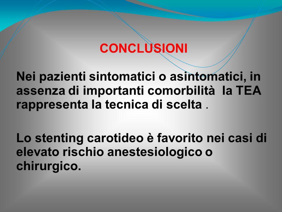 CONCLUSIONI Nei pazienti sintomatici o asintomatici, in assenza di importanti comorbilità la TEA rappresenta la tecnica di scelta. Lo stenting carotid