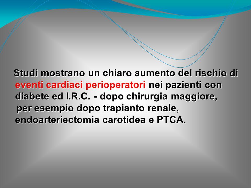 Studi mostrano un chiaro aumento del rischio di eventi cardiaci perioperatori nei pazienti con diabete ed I.R.C. - dopo chirurgia maggiore, Studi most