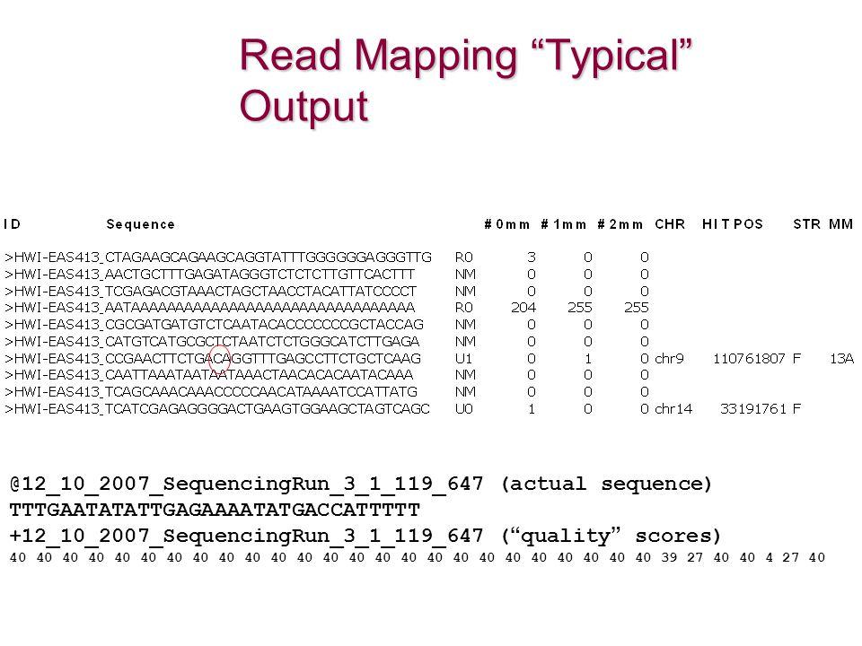 Read Mapping Typical Output @12_10_2007_SequencingRun_3_1_119_647 (actual sequence) TTTGAATATATTGAGAAAATATGACCATTTTT +12_10_2007_SequencingRun_3_1_119_647 ( quality scores) 40 40 40 40 40 40 40 40 40 40 40 40 40 40 40 40 40 40 40 40 40 40 40 40 40 39 27 40 40 4 27 40