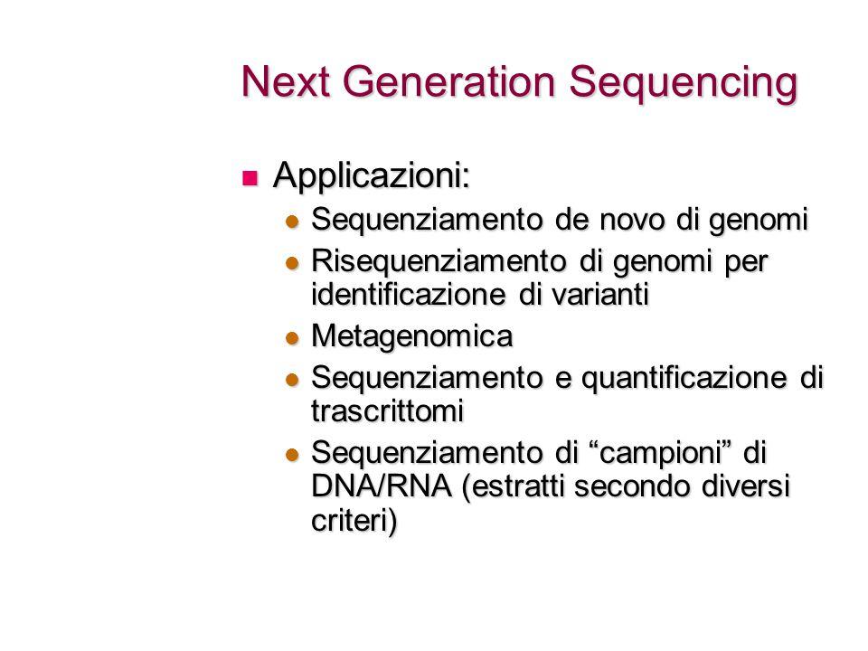 Next Generation Sequencing Applicazioni: Applicazioni: Sequenziamento de novo di genomi Sequenziamento de novo di genomi Risequenziamento di genomi pe