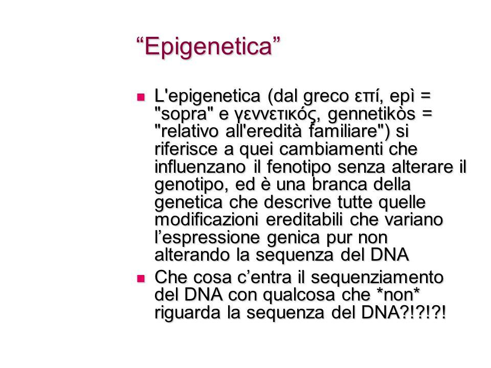Epigenetica L epigenetica (dal greco επί, epì = sopra e γεννετικός, gennetikòs = relativo all eredità familiare ) si riferisce a quei cambiamenti che influenzano il fenotipo senza alterare il genotipo, ed è una branca della genetica che descrive tutte quelle modificazioni ereditabili che variano l'espressione genica pur non alterando la sequenza del DNA L epigenetica (dal greco επί, epì = sopra e γεννετικός, gennetikòs = relativo all eredità familiare ) si riferisce a quei cambiamenti che influenzano il fenotipo senza alterare il genotipo, ed è una branca della genetica che descrive tutte quelle modificazioni ereditabili che variano l'espressione genica pur non alterando la sequenza del DNA Che cosa c'entra il sequenziamento del DNA con qualcosa che *non* riguarda la sequenza del DNA?!?!?.