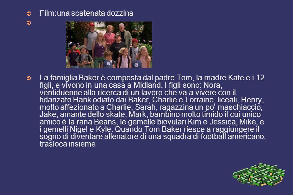 ➲ Film:una scatenata dozzina ➲ ➲ La famiglia Baker è composta dal padre Tom, la madre Kate e i 12 figli, e vivono in una casa a Midland. I figli sono:
