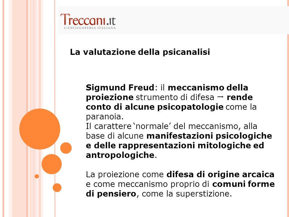 Sigmund Freud: il meccanismo della proiezione strumento di difesa  rende conto di alcune psicopatologie come la paranoia. Il carattere 'normale' del