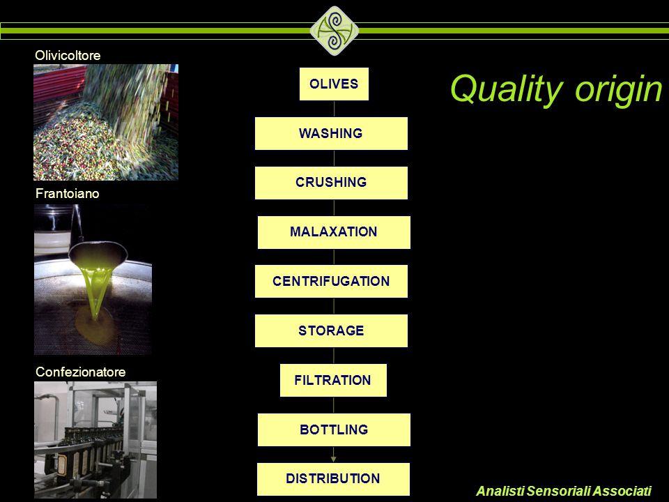 Analisti Sensoriali Associati Olivicoltore Frantoiano Confezionatore Quality origin OLIVES WASHING CRUSHING MALAXATION CENTRIFUGATION STORAGE FILTRATI