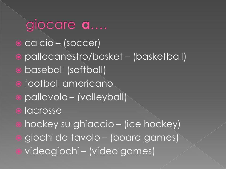  calcio – (soccer)  pallacanestro/basket – (basketball)  baseball (softball)  football americano  pallavolo – (volleyball)  lacrosse  hockey su ghiaccio – (ice hockey)  giochi da tavolo – (board games)  videogiochi – (video games)