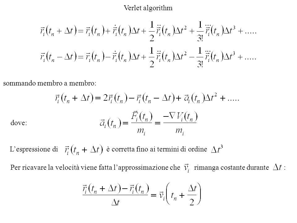 Verlet algorithm sommando membro a membro: dove: L'espressione di è corretta fino ai termini di ordine Per ricavare la velocità viene fatta l'approssimazione che rimanga costante durante :