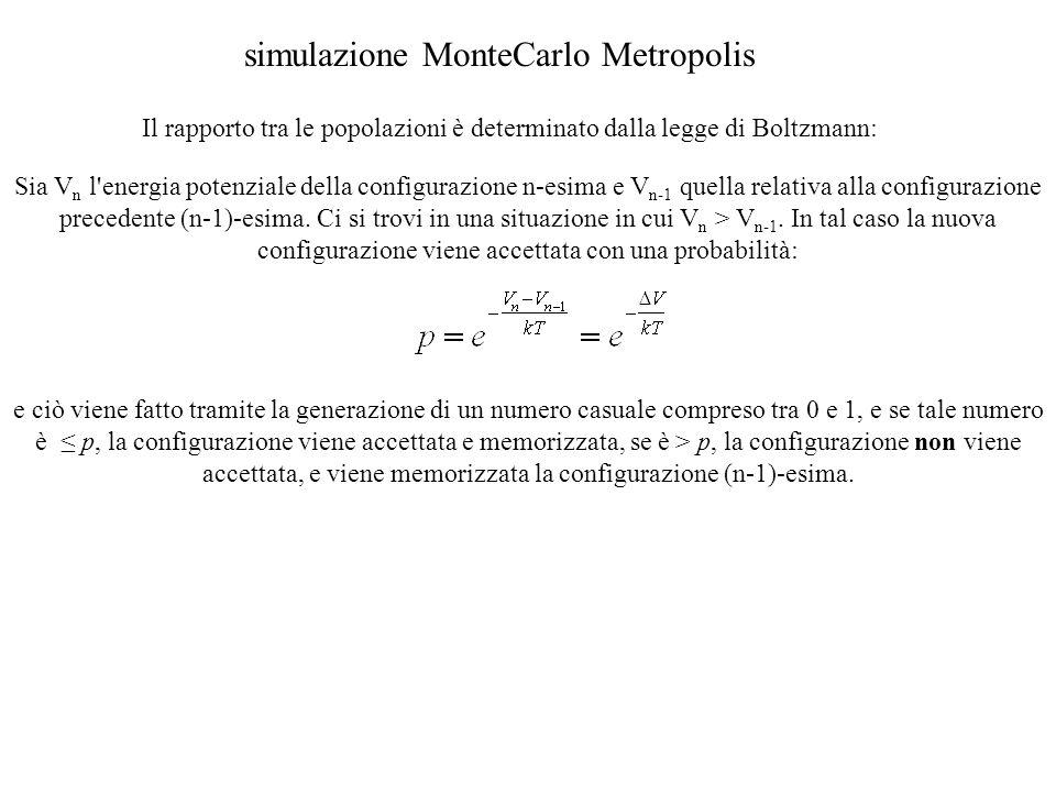 Il rapporto tra le popolazioni è determinato dalla legge di Boltzmann: simulazione MonteCarlo Metropolis Sia V n l energia potenziale della configurazione n-esima e V n-1 quella relativa alla configurazione precedente (n-1)-esima.